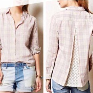 Anthropologie Isabella Sinclair Plaid Lace Top